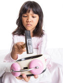 Girl Destroy Alarm Clock — Stock Photo