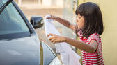 Girl Washing Car — Stock Photo
