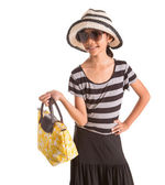 Young Girl With Hat, Sunglasses and Handbag — Stock Photo
