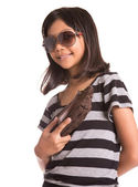 Young Girl With Sunglasses And Purse — Stock Photo
