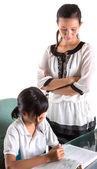 Jeune écolière avec professeur — Photo