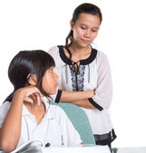 Young School Girl With Teacher — Stock Photo