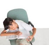 Sleepy Young Asian School Girl — Stock Photo