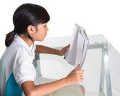 Young School Girl Studying — Stock Photo