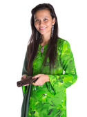 Asian Malay Woman With A Brown Purse — Stock Photo