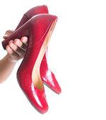 Female Hand Holding High Heels — Stock Photo