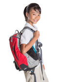 Girl In School Uniform And Backpack — Stock Photo