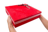 Holding Red Gift Box — Stock fotografie