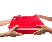 Holding Red Gift Box — Stock Photo