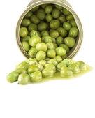 Green peas in bank — Foto Stock