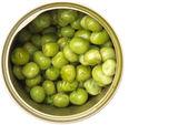 Green peas in bank — 图库照片