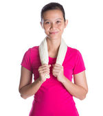 Female Asian Athlete WIth Towel — Foto Stock