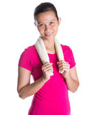 Female Asian Athlete WIth Towel — Photo