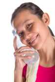 Female Asian With Mineral Water — Photo