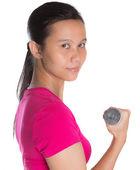 Female Asian With Dumbbell — Stock fotografie