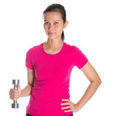 Female Asian With Dumbbell — Photo