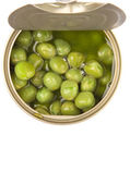 Green Peas In Tin Can — Stok fotoğraf