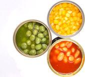 焗的豆、 青豆、 甜玉米 — 图库照片