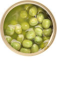 Green Peas In Tin Can — Stock Photo