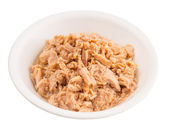 Flaked Tuna Pieces In White Bowl — Stock Photo