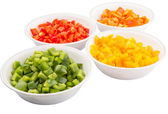 Colorful Chopped Capsicums In White Bowls — Stock Photo