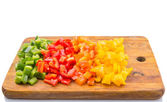 Colorful Chopped Capsicums — Stock Photo