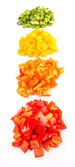 Heaps Of Chopped Colorful Capsicums — Stock Photo
