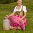 Stock Photo: Milkmaid from Alps