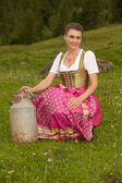 Milkmaid from the Alps — Stock Photo