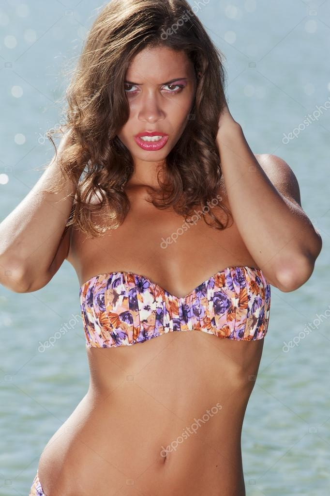 Young girl from Brazil on the beach in bikini  Stock Photo #13353123