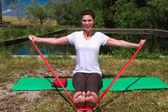 Iyengar yoga: health, body and soul — Stock Photo
