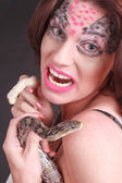 Snake woman — Stock Photo