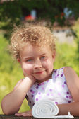 Sympathetic little blond girl — Stock Photo