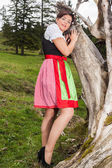 Beautiful young girl in a colourful dirndl — Stock Photo