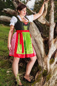 Young elegant woman in Bavarian dress fashion — Stock Photo