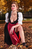 Sexy beautiful young woman in a dirndl — Stock Photo