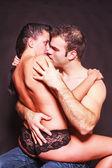 Romantic couple in a suggestive pose — Stock Photo