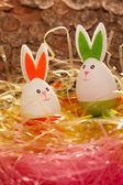 Colorful Easter nest with two eggs — Stock Photo