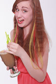 Vivacious beautiful teenager enjoying a party. — Stock Photo