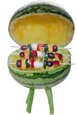 BBQ with fruit skewers -optional — Stock Photo