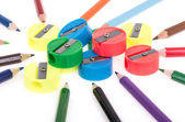 Colorful pencils and sharpeners — Stock Photo