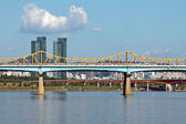 A bridge with a subway train over river — Stock Photo