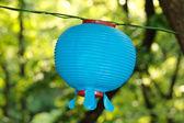 Single blue lantern over green background on Buddha's birthday — Foto de Stock