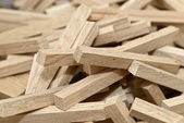Wooden blocks with selected focus filling frame — Foto Stock