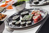 Dish with Japanese sushi rolls — Stock Photo