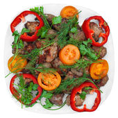 Grilled meat (kebab) and vegetables — Stock Photo