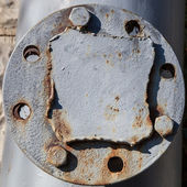 Flange on the old pipeline — Stock Photo