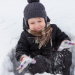 Boy plays in the snow — Stock Photo