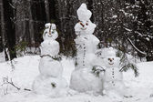 Family snowmen — Stock fotografie