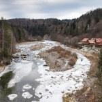 Winter mountain river — Stock Photo